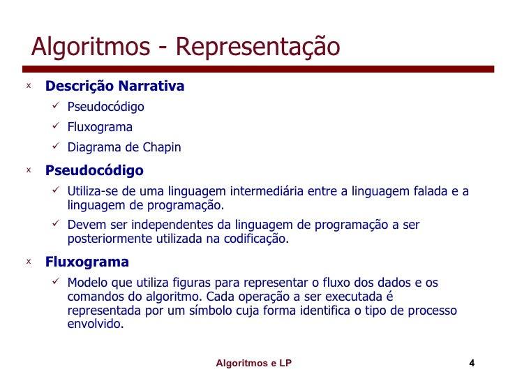 Algoritmos - Representação <ul><li>Descrição Narrativa </li></ul><ul><ul><li>Pseudocódigo </li></ul></ul><ul><ul><li>Fluxo...