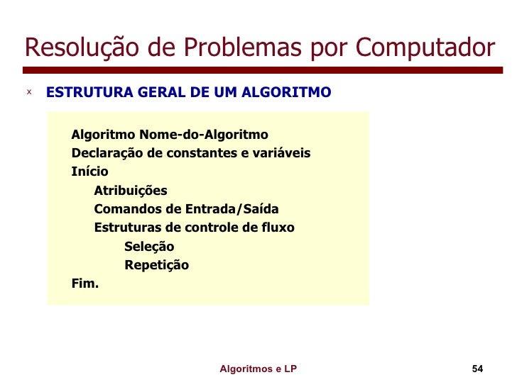 Resolução de Problemas por Computador <ul><li>ESTRUTURA GERAL DE UM ALGORITMO </li></ul>Algoritmo Nome-do-Algoritmo Declar...