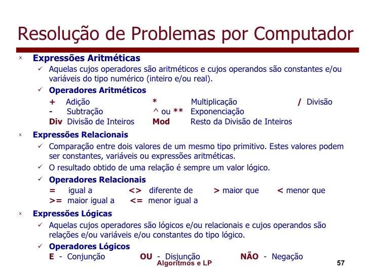 Resolução de Problemas por Computador <ul><li>Expressões Aritméticas </li></ul><ul><ul><li>Aquelas cujos operadores são ar...