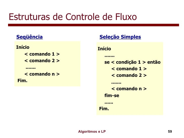 Estruturas de Controle de Fluxo <ul><li>Seqüência   Seleção Simples </li></ul>Início < comando 1 > < comando 2 > ....... <...