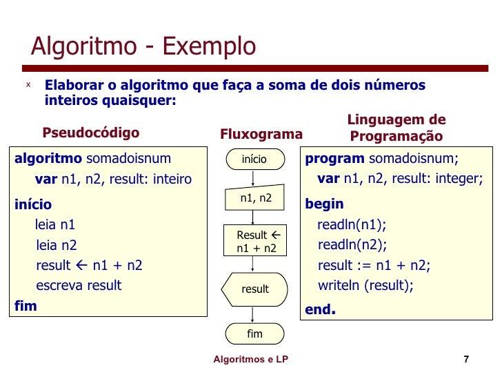 Algoritmo - Exemplo <ul><li>Elaborar o algoritmo que faça a soma de dois números inteiros quaisquer: </li></ul>Pseudocódig...