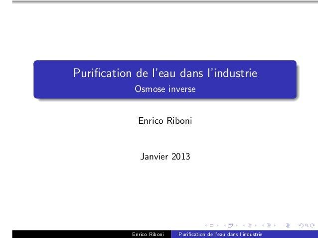 Purification de l'eau dans l'industrie            Osmose inverse             Enrico Riboni              Janvier 2013       ...