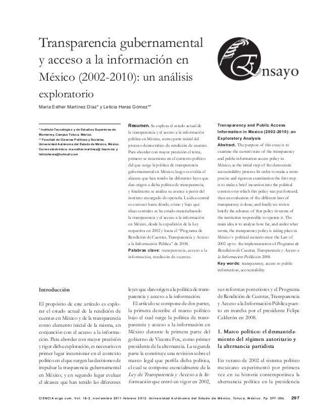 297CIENCIA ergo sum, Vol. 18-2, noviembre 2011-febrero 2012. Universidad Autónoma del Estado de México, Toluca, México. Pp...