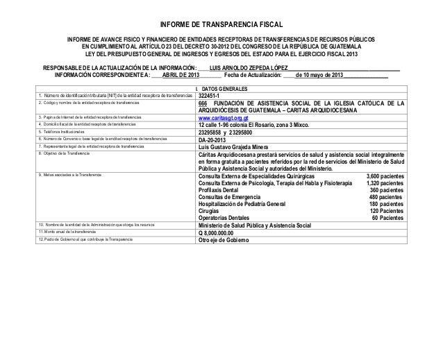 INFORME DE TRANSPARENCIA FISCAL INFORME DE AVANCE FISICO Y FINANCIERO DE ENTIDADES RECEPTORAS DE TRANSFERENCIAS DE RECURSO...