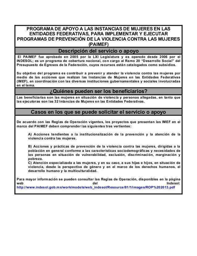 PROGRAMA DE APOYO A LAS INSTANCIAS DE MUJERES EN LAS ENTIDADES FEDERATIVAS, PARA IMPLEMENTAR Y EJECUTAR PROGRAMAS DE PREVE...