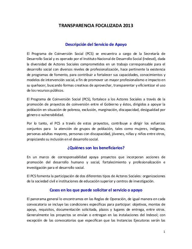 TRANSPARENCIA  FOCALIZADA  2013      Descripción  del  Servicio  de  Apoyo   El   Programa   de   ...