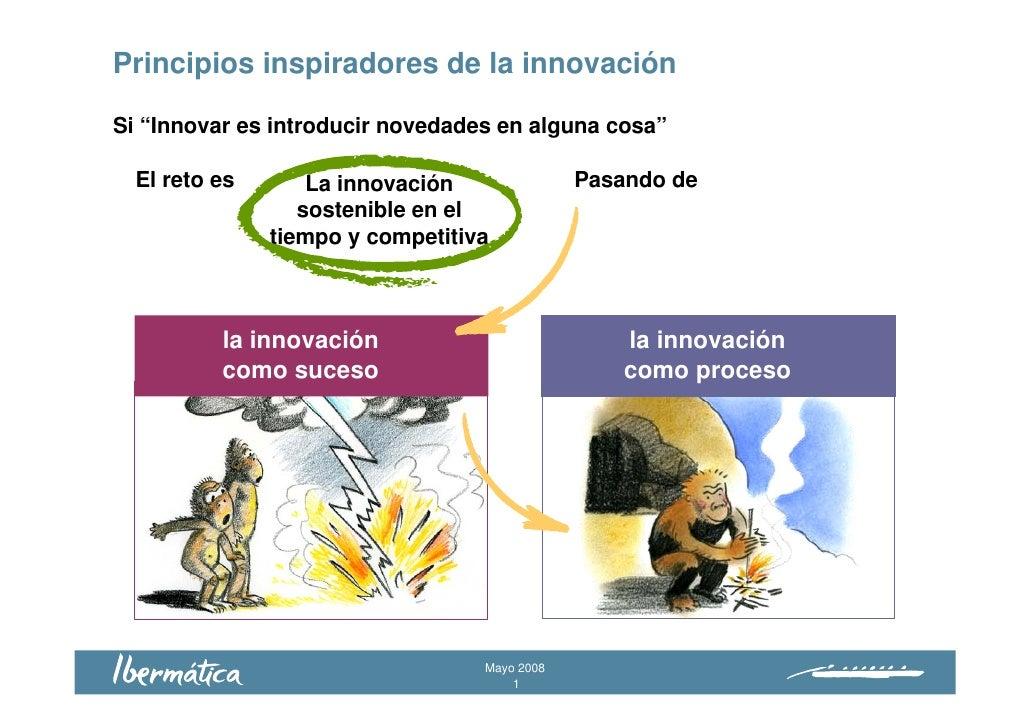 """Principios inspiradores de la innovación  Si """"Innovar es introducir novedades en alguna cosa""""    El reto es               ..."""