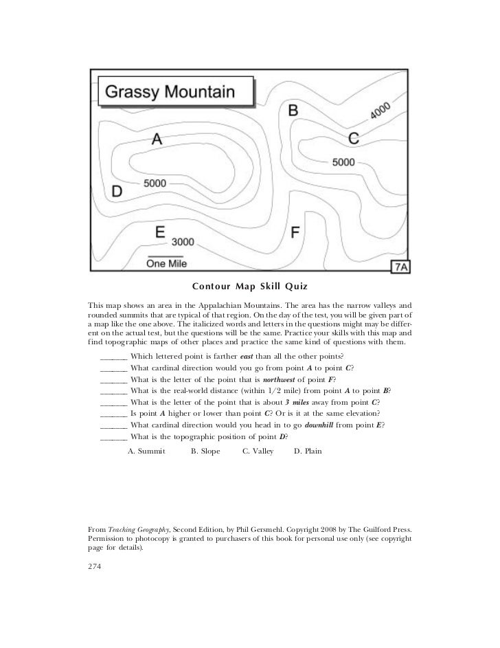 Contour Map Skill QuizThis map shows an area in the Appalachian Mountains. The area has the narrow valleys androunded summ...