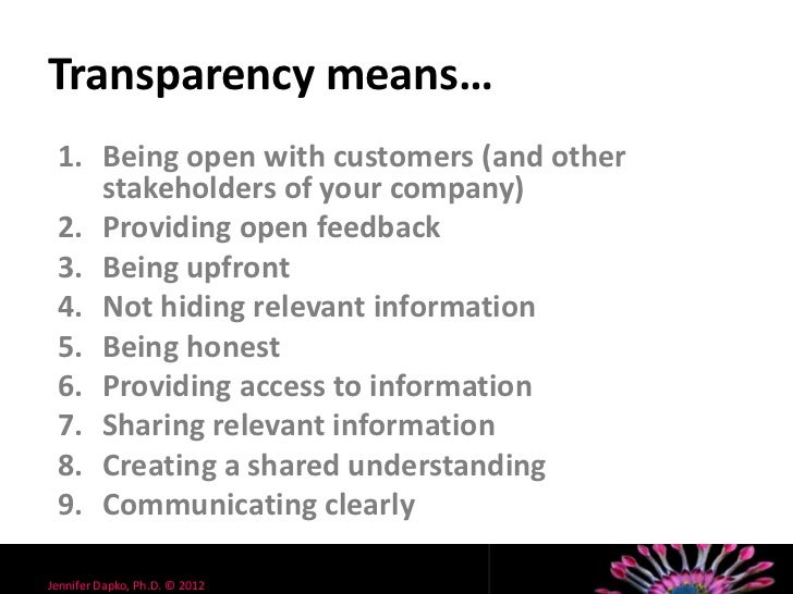 transparency what it means to your customers and its impact to your