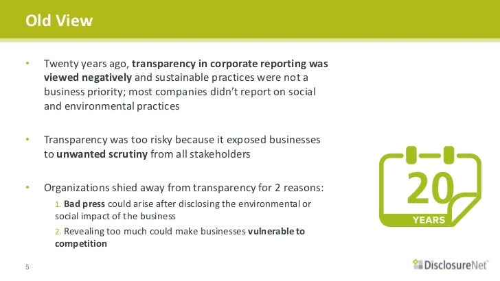 Transparency in business reporting tools