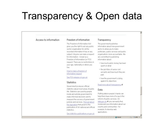 Transparency & Open data