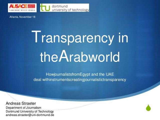 Atlanta, November 18                  Transparency in                   theArabworld                           Howjournali...
