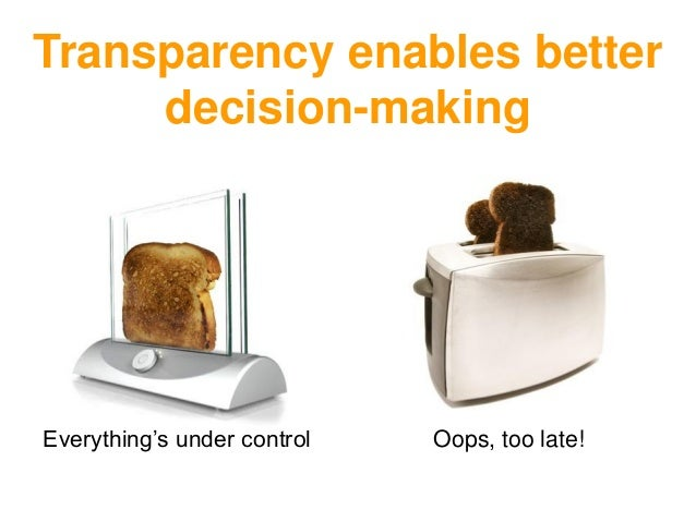 Oops, too late!Everything's under control Transparency enables better decision-making