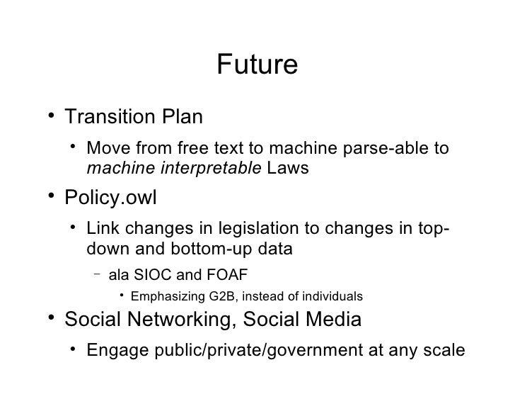 Future <ul><li>Transition Plan </li></ul><ul><ul><li>Move from free text to machine parse-able to  machine   interpretable...