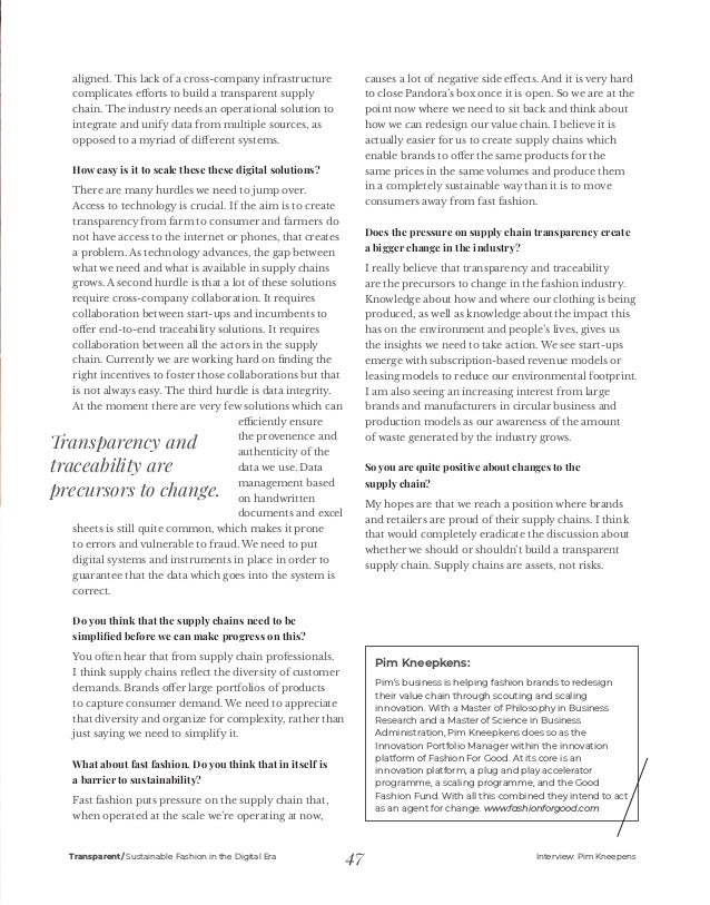 Transparent magazine: SUSTAINABLE FASHION IN THE DIGITAL ERA