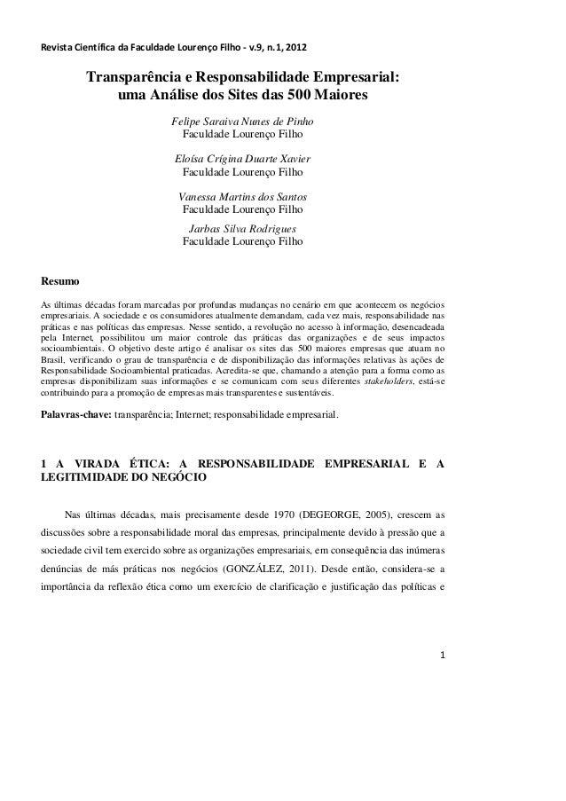 Revista Científica da Faculdade Lourenço Filho - v.9, n.1, 2012           Transparência e Responsabilidade Empresarial:   ...