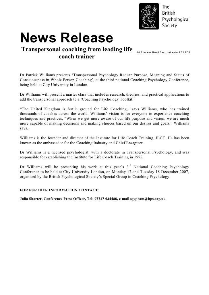 News Release Transpersonal coaching from leading life                               48 Princess Road East, Leicester LE1 7...