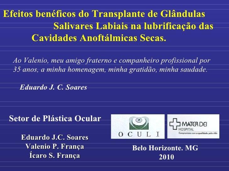 Efeitos benéficos do Transplante de Glândulas  Salivares Labiais na lubrificação das Cavidades Anoftálmicas Secas.  Setor ...