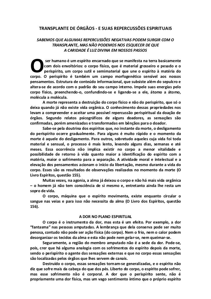 TRANSPLANTE DE ÓRGÃOS - E SUAS REPERCUSSÕES ESPIRITUAIS   SABEMOS QUE ALGUMAS REPERCUSSÕES NEGATIVAS PODEM SURGIR COM O   ...