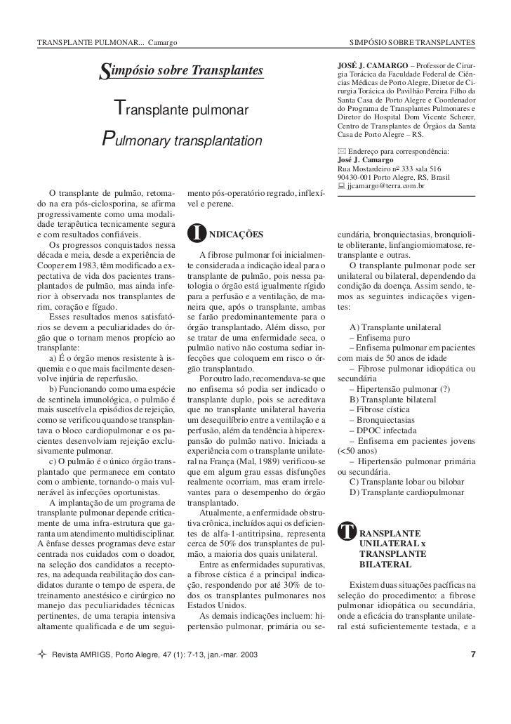 TRANSPLANTE PULMONAR... Camargo                                                           SIMPÓSIO SOBRE TRANSPLANTES     ...