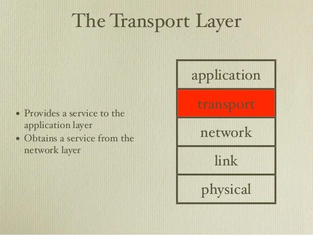 The Transport Layer                                 application                                 transport• Provides a serv...