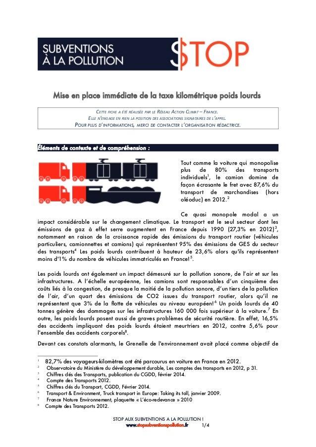 Mise en place immédiate de la taxe kilométrique poids lourds CETTE FICHE A ÉTÉ RÉALISÉE PAR LE RÉSEAU ACTION CLIMAT – FRAN...