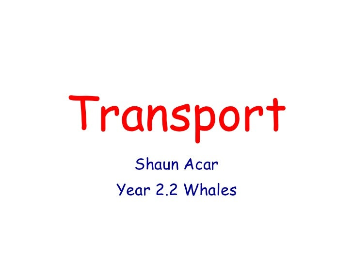 Transport Shaun Acar Year 2.2 Whales