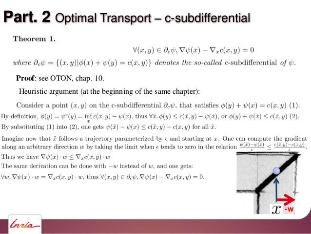 Part. 2 Optimal Transport c-subdifferential Proof: see OTON, chap. 10. Heuristic argument (at the beginning of the same ch...