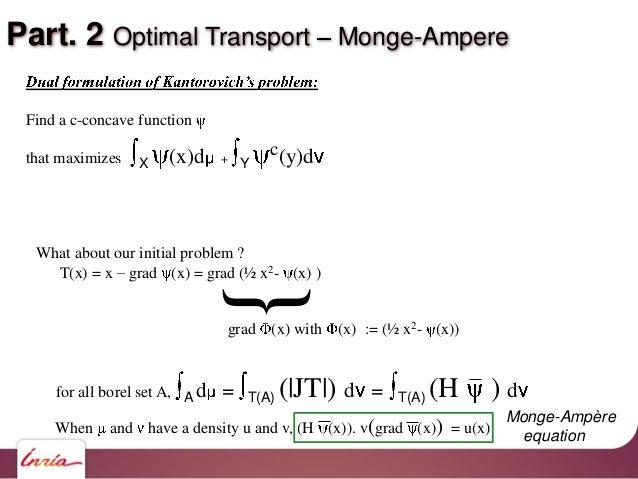 Part. 2 Optimal Transport Monge-Ampere What about our initial problem ? T(x) = x grad (x) = grad (½ x2- (x) ) {grad (x) wi...