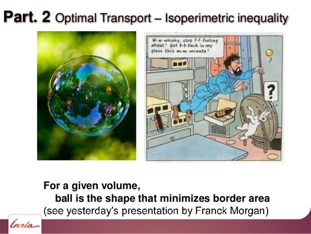 Part. 2 Optimal Transport Isoperimetric inequality For a given volume, ball is the shape that minimizes border area
