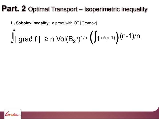 Part. 2 Optimal Transport Isoperimetric inequality Vol(B2 n)1/n ( f n/(n-1))(n-1)/n L1 Sobolev inegality: a proof with OT ...