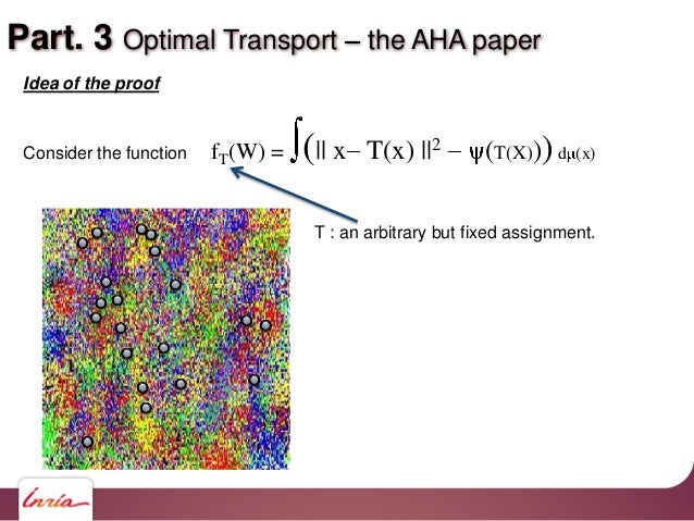 Part. 3 Optimal Transport the AHA paper Idea of the proof Consider the function fT(W) = (   x T(x)   2 (T(X)))d (x) T : an...