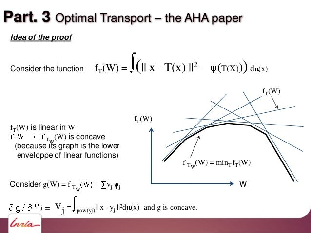 Part. 3 Optimal Transport the AHA paper fT(W) W fT(W) f TW (W) = minT fT(W) Consider g(W) = f TW vj j vj - pow(yj)   x yj ...