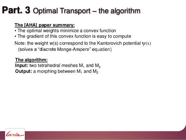 Part. 3 Optimal Transport the algorithm The [AHA] paper summary: The optimal weights minimize a convex function The gradie...