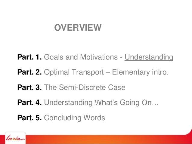 Part. 1. Goals and Motivations - Understanding Part. 2. Optimal Transport Elementary intro. Part. 3. The Semi-Discrete Cas...