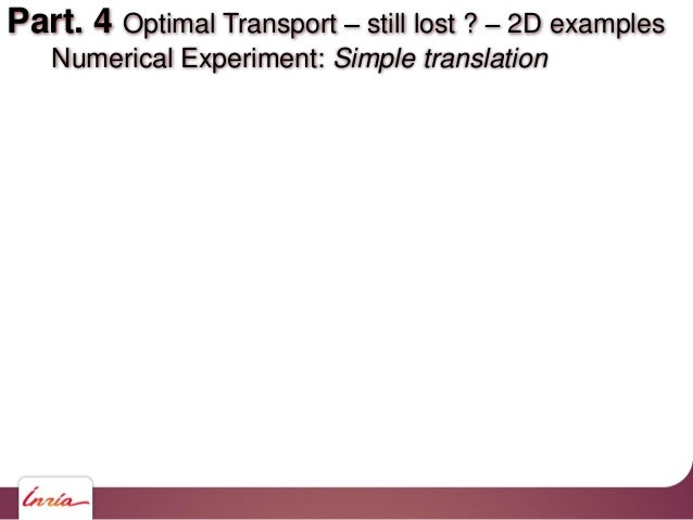 Part. 4 Optimal Transport still lost ? 2D examples Numerical Experiment: Simple translation