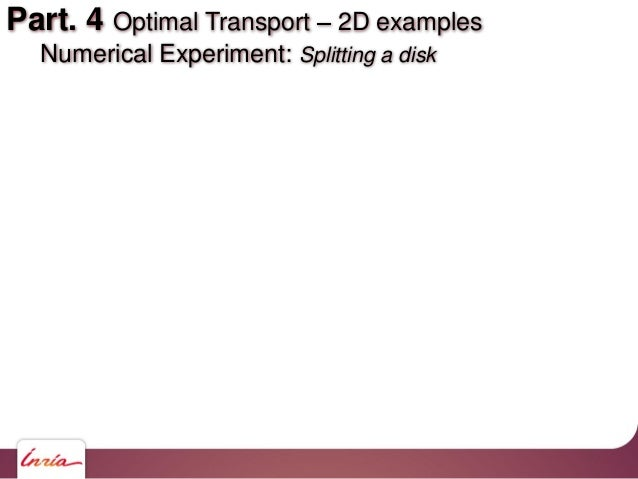 Part. 4 Optimal Transport 2D examples Numerical Experiment: Splitting a disk