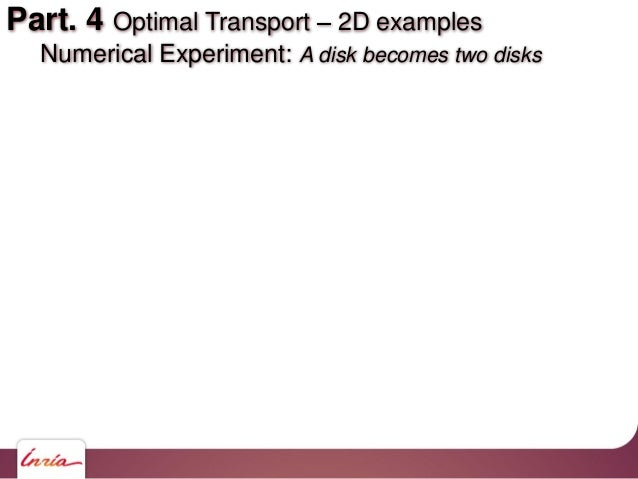 Part. 4 Optimal Transport 2D examples Numerical Experiment: A disk becomes two disks