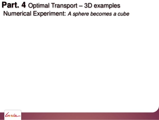 Part. 4 Optimal Transport 3D examples Numerical Experiment: A sphere becomes a cube