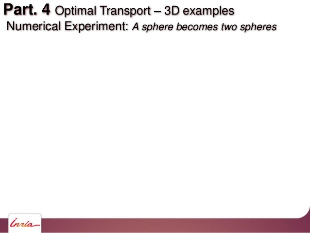 Part. 4 Optimal Transport 3D examples Numerical Experiment: A sphere becomes two spheres