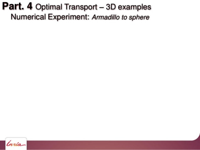 Part. 4 Optimal Transport 3D examples Numerical Experiment: Armadillo to sphere