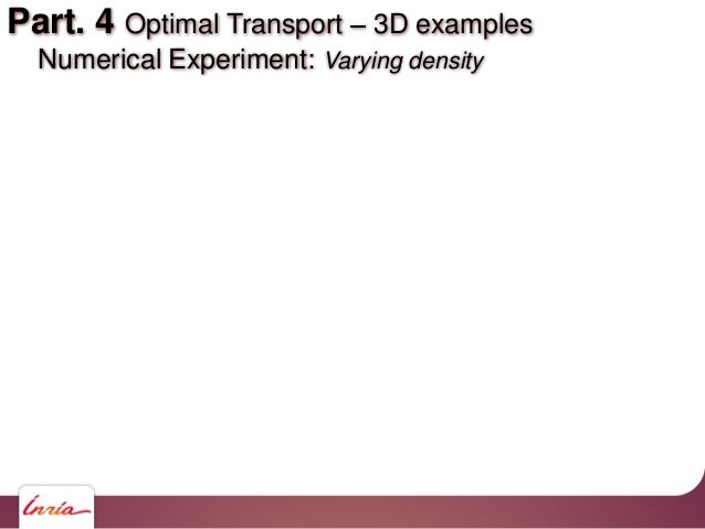 Part. 4 Optimal Transport 3D examples Numerical Experiment: Varying density