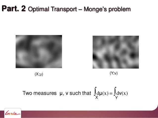 Part. 2 Optimal Transport problem (X; ) (Y; ) Two measures , such that d (x) = d (x) X Y