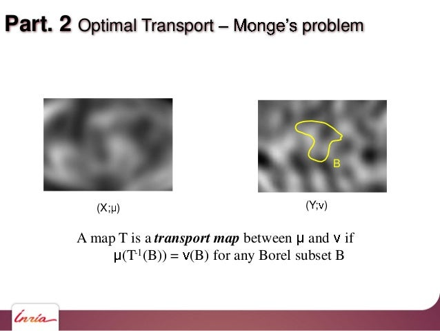 Part. 2 Optimal Transport problem A map T is a transport map between and if (T-1(B)) = (B) for any Borel subset B B (X; ) ...