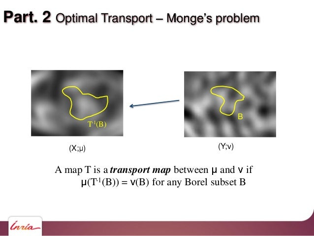 Part. 2 Optimal Transport problem A map T is a transport map between and if (T-1(B)) = (B) for any Borel subset B B T-1(B)...