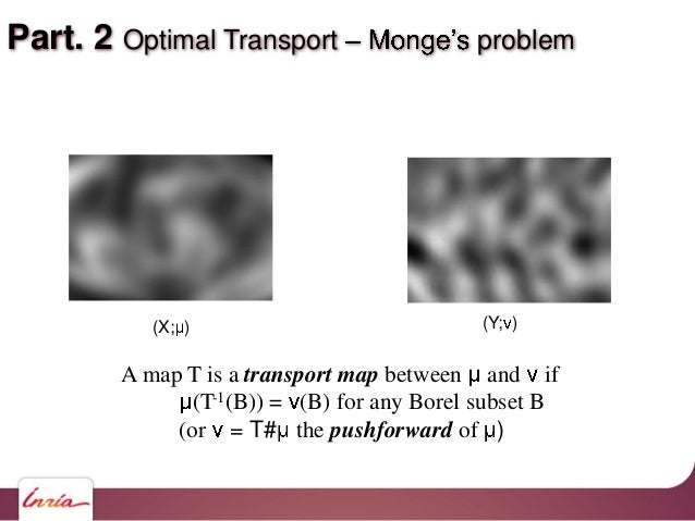 Part. 2 Optimal Transport problem A map T is a transport map between and if (T-1(B)) = (B) for any Borel subset B (or = T#...