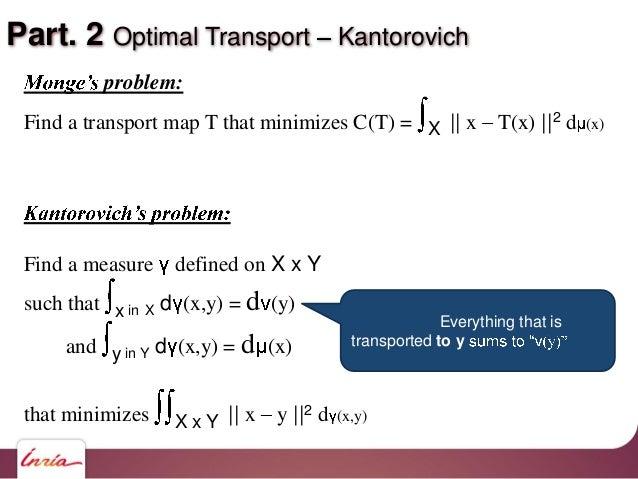Part. 2 Optimal Transport Kantorovich problem: Find a transport map T that minimizes C(T) = X    x T(x)   2 d (x) Find a m...