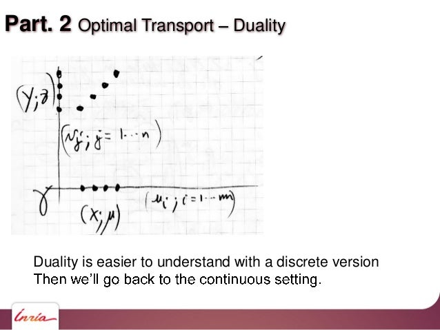 Part. 2 Optimal Transport Duality Duality is easier to understand with a discrete version