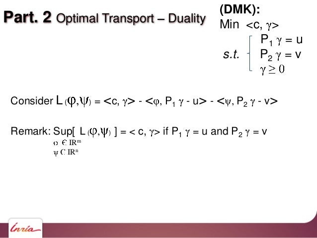 Part. 2 Optimal Transport Duality Consider L( , ) = <c, > - < , P1 - u> - < , P2 - v> Remark: Sup[ L( , ) ] = < c, > if P1...