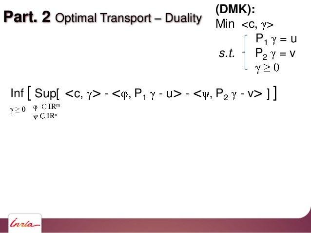 Part. 2 Optimal Transport Duality IRm IRn Inf [ Sup[ <c, > - < , P1 - u> - < , P2 - v> ] ] (DMK): Min <c, > P1 = u s.t. P2...